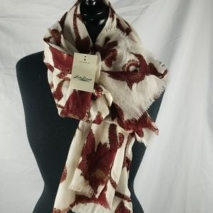NWT Lucky Brand Floral Vine Scarf 100% Wool